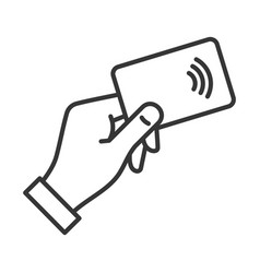 Hand with nfc payment credit card icon vector