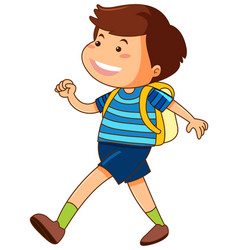 happy boy with yellow backpack vector image