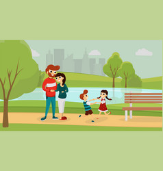 happy family in the park vector image