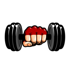 Heavy dumbbell in hand cartoon gym bodybuilding vector