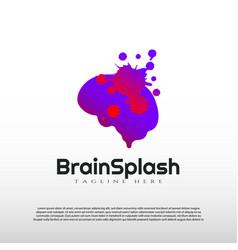 Human brain logo with splash design concept vector