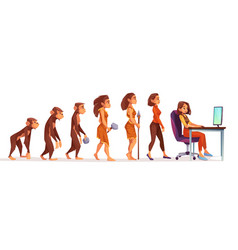 Human evolution from monkey to woman freelancer vector