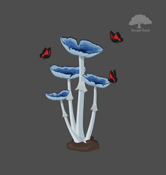 Icon of blue fantasy mushroom with butterfly vector