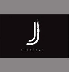 j monogram letter logo design brush paint stroke vector image