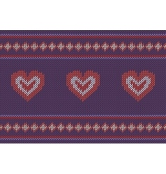 Jacquard pattern with red hearts on purple vector