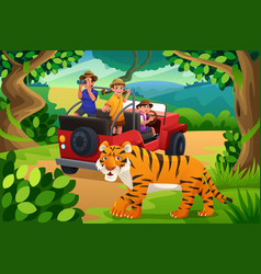 kids going to jungle safari vector image