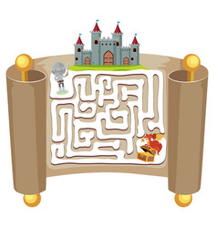 Knight maze puzzle game template vector