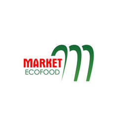 m letter icon for eco food market vector image