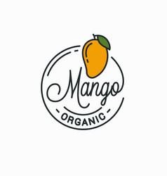 mango fruit logo round linear logo mango vector image