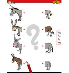 Match halves of donkeys educational game vector