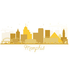 Memphis city skyline golden silhouette vector