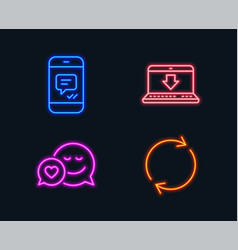 Message internet downloading and dating icons vector