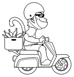 Monkey on motor bike line art vector