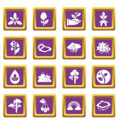 nature icons set purple square vector image