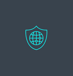 network security concept blue line icon simple vector image