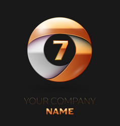 Number seven logo symbol in golden-silver circle vector