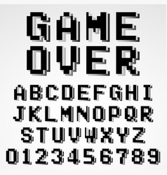 Old pixel video game alphabet font template vector