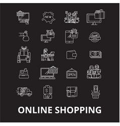 online shopping editable line icons set o vector image