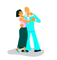 pair active seniors dancing vector image