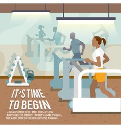 People on treadmills fitness poster vector image