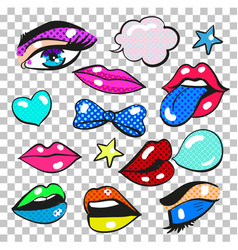 Pop art comic fashion patches stickers set vector