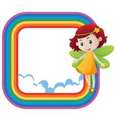 Rainbow frame with cute fairy flying vector