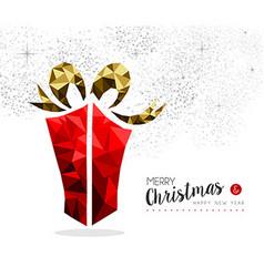 Red gift box for christmas season greeting card vector