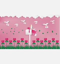 seagulls postman sending love mail vector image