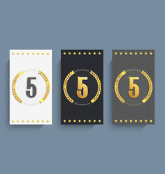 Set 5th anniversary cards template vector