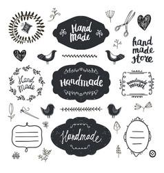 set hand drawn doodle frames badges vector image