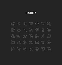set line icons history vector image