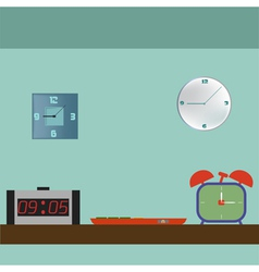 Set of digital retro alarm clock vector image