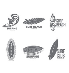 Set of graphic surfing logo templates with surfer vector