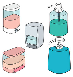 set of shampoo and liquid soap bottle vector image