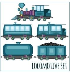 set of vintage locomotives vector image
