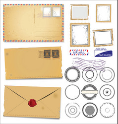 set of vintage post stamp symbols vector image