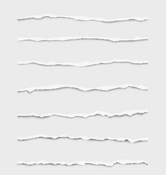 seven oblong torn white paper wisps vector image