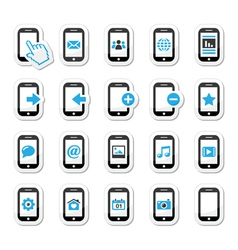 Smartphone mobile or cell phone icons set vector