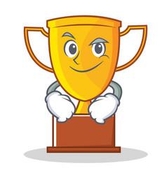 Smirking trophy character cartoon style vector