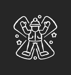 Snow angel chalk white icon on black background vector