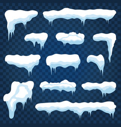 snow caps snowdrifts and snowflakes with icicles vector image