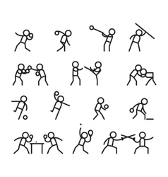 Sports and martial arts line icons vector image