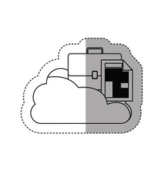 Sticker contour cloud in cumulus shape with vector