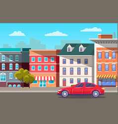 street in modern city car on road and skyline vector image