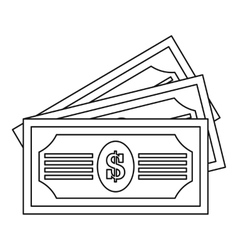 Three dollar bills icon outline style vector image