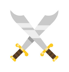 two curves crossed saber traditional pirate vector image