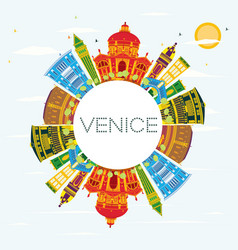 venice skyline with color buildings blue sky and vector image