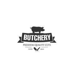 Vintage logo butcher shop with picture of cow vector