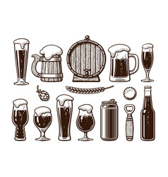 vintage set beer objects old wooden mug vector image