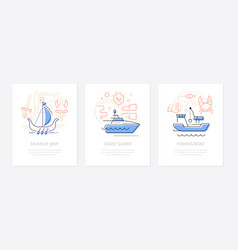 water transport - line design style banners set vector image
